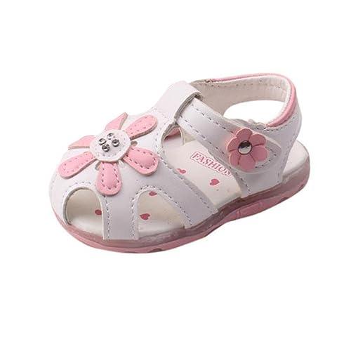 6c6277ce8 Sandalias Niña Verano K-Youth® Zapatos Niña Sandalias Para Niña Chica  Zapatillas Planas Zapatos Princesa con Led Luz Sandalias Huecos de Flores de  Bebés ...