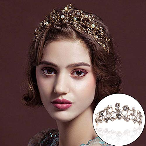 Leiothrix Gold Bride Wedding Queen Flower Crowns and Tiaras Baroque Bridal Hair Accessories for Women]()