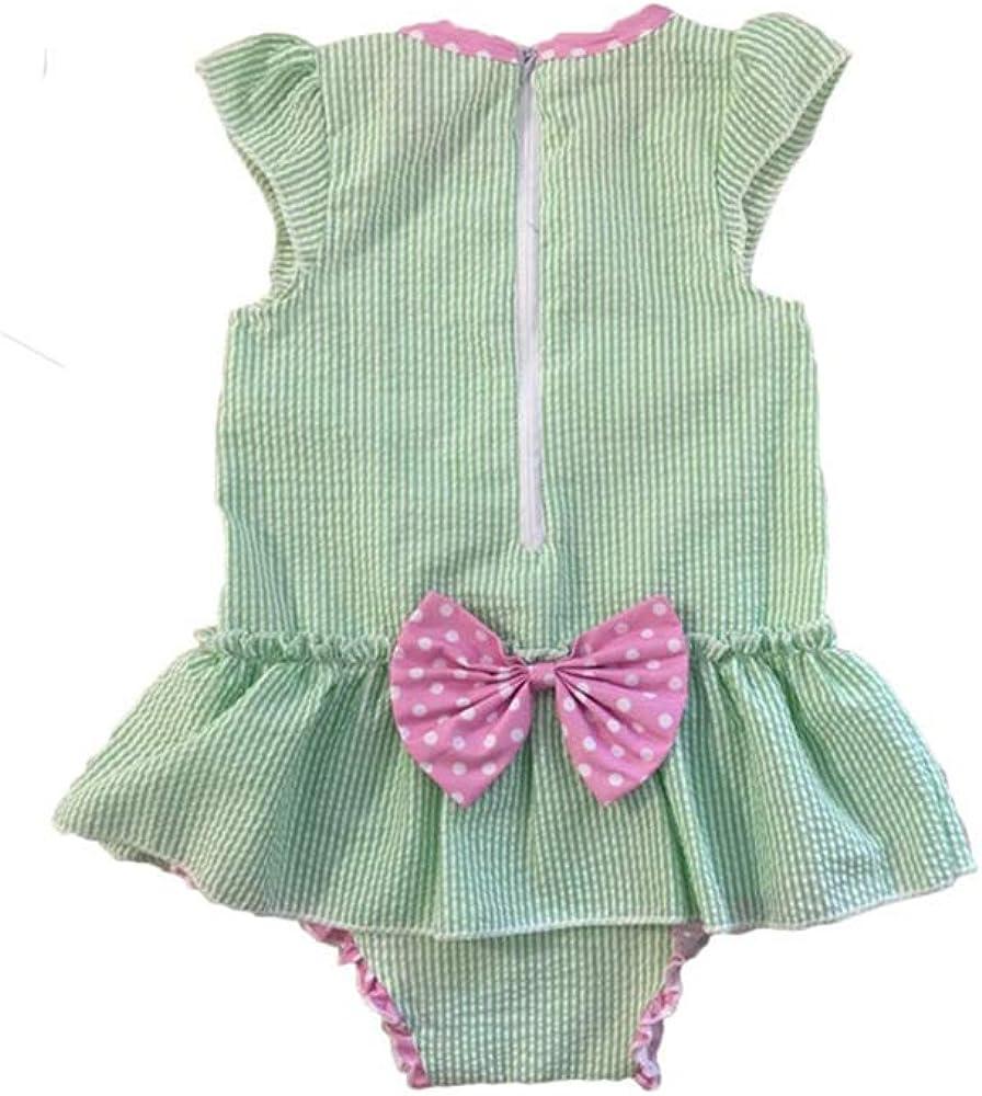 Newborn Baby Girl Sunsuit Seersucker Cotton Bodysuit Ruffle Mermaid Infant Romper Girls with Bowknot Green