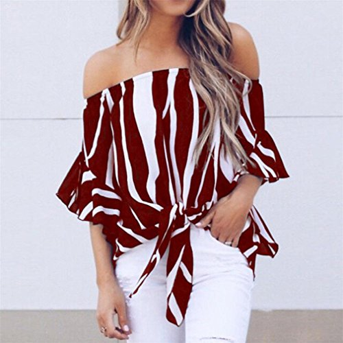 Dnude Epaule Haut Courte Femme Sexy Tunique T Vtements Femme Ruffle Femme Ray Rouge Tee Blouse Tops Chemisier Chic Shirt GongzhuMM Femme Vin Manche Shirt 7xq408wUp6