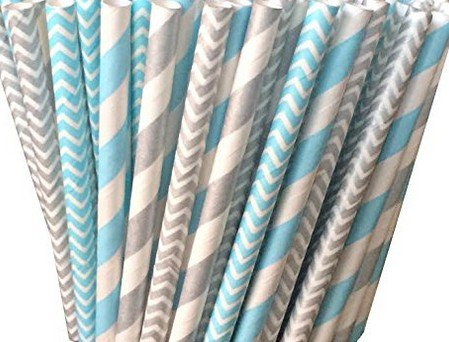 Biodegradable Paper Drinking Straws (Premium Quality), Pack of 100, Combo - Light Blue & Silver / Striped & - Light Blue Violet