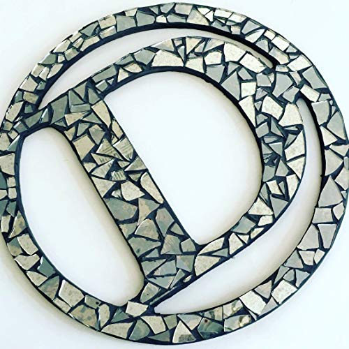 (Mirror Mosaic Wall Art, 14 inch, Handcrafted Monogram Letter Wall Art Mosaic Wreath - Personalized Art)