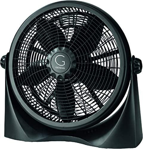 Genesis A3FLOORFANBLACK Adjustable 360 Degree Table Floor Fan, 16 , Black