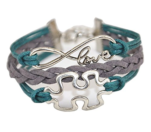 Handmade Infinity Puzzle Piece Charm Friendship Gift Leather Bracelet - Green -