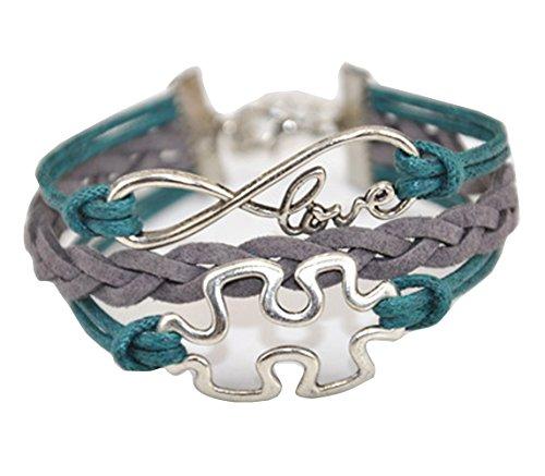 Autism Puzzle Piece Charm - Handmade Infinity Puzzle Piece Charm Friendship Gift Leather Bracelet - Green