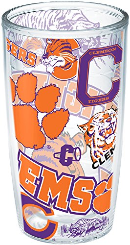 Tervis 1252337 Clemson Tigers All Over Insulated Tumbler with Wrap, 16oz, Clear