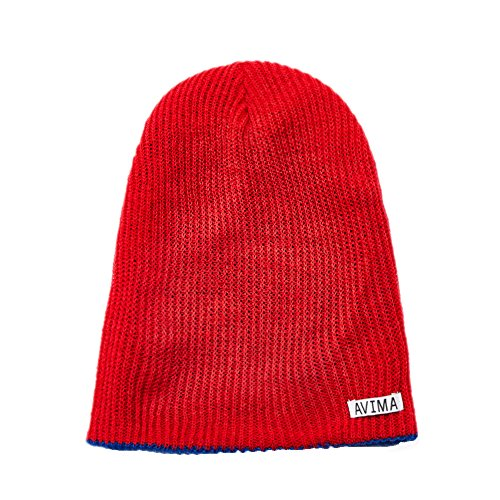 AVIMA Reversible Beanie Hat for Men, Women & Kids in Many Colors | Stretchy, Comfy, Slouchy & Snug Cap Woven Design| Improve Your Looks, Mix & Match with Outfits, Warm Your Head (Blue and Red)