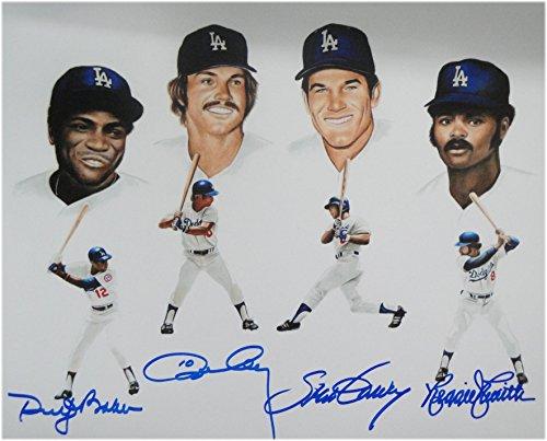 Reggie Smith Ron Cey Dusty Baker Steve Garvey Autograph 8x10 Photo Dodgers 30HR - Steve Smith Autograph