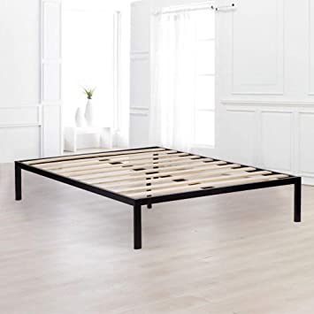 Bed Frame Metal Platform Bed Frame Queen Size Steel Wood Slat Bed Black Mattress Foundation