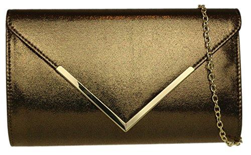 Girly HandBags Shimmer Frame Clutch Bag Bronze