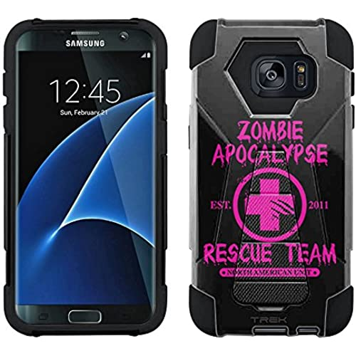 Samsung Galaxy S7 Edge Hybrid Case Zombie Apocalypse 2012 Rescue Team Pink on Black 2 Piece Style Silicone Case Cover with Stand for Samsung Galaxy Sales