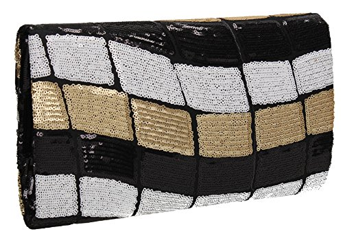 Out Clutch Black Trendy Night SWANKYSWANS Envelope Womens Ana Sequin Prom Bag Party x4z5PRYwq