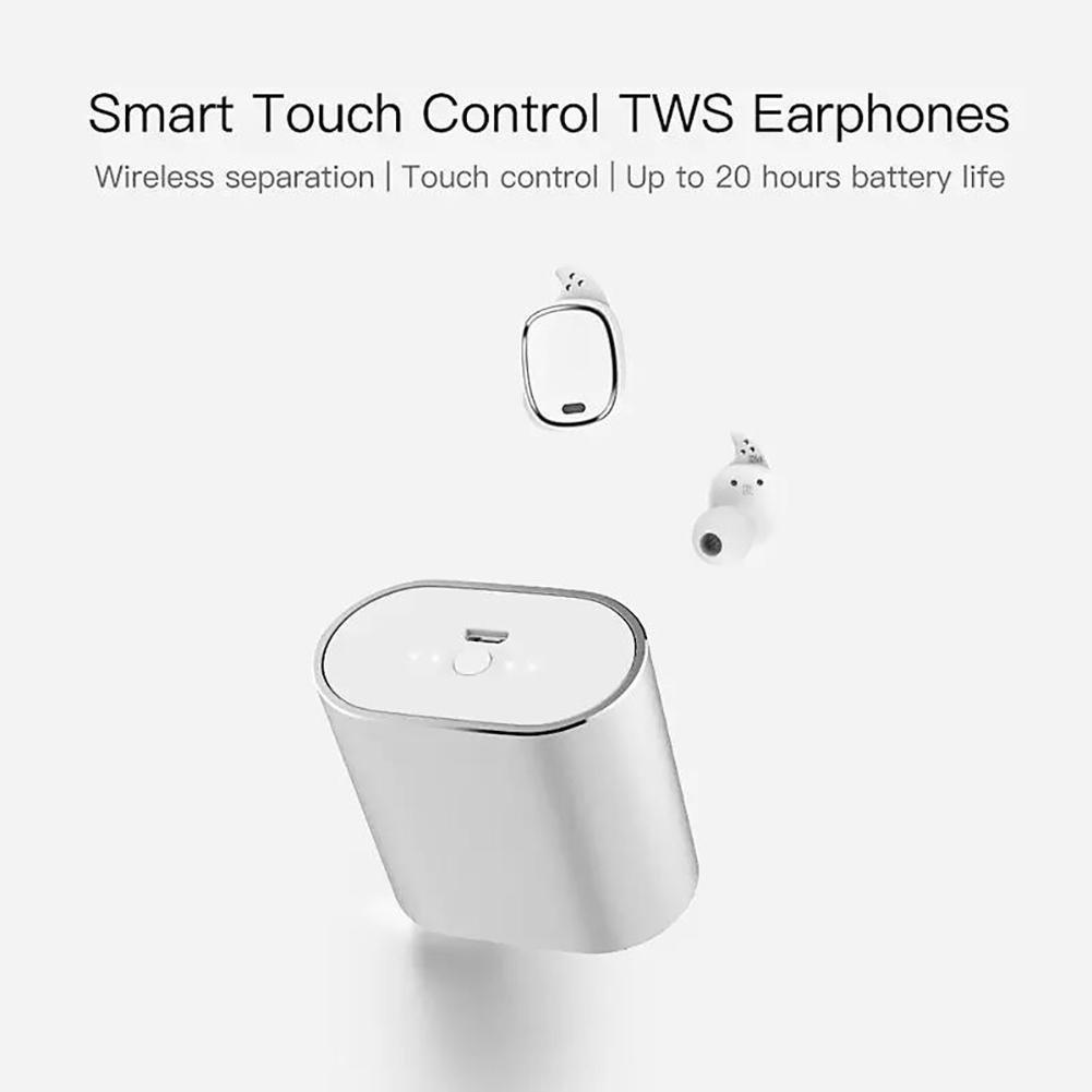 QCY T1 Pro Control táctil Bluetooth Auriculares TWS Mini Auricular inalámbrico con micrófono Auriculares manos libres de música y 750mAh Caja de carga ...