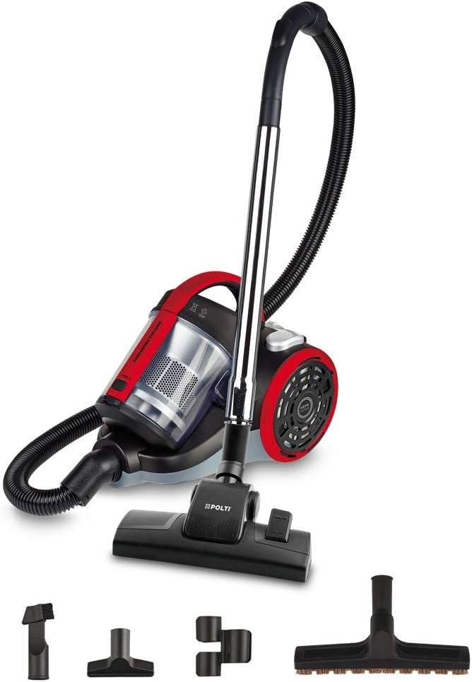 Polti Forzaspira C110_Plus Aspirador cicónico sin bolsa, 2 litros capacidad depósito de recogida, 800 W, 80 Decibelios, Rojo [Clase de eficiencia energética A++]