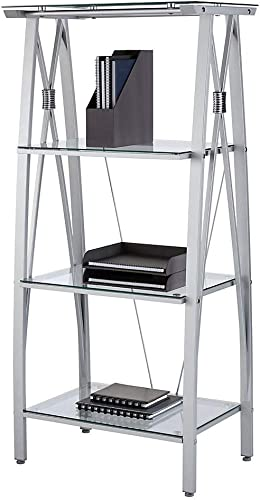 Realspace Vista 60″H 4-Shelf Glass/Metal Bookcase