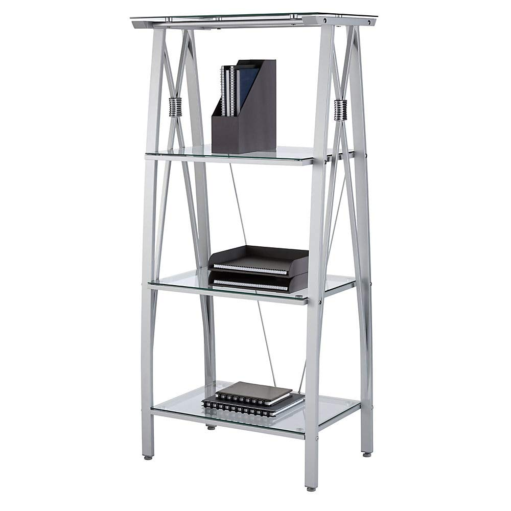 Realspace Vista 60''H 4-Shelf Glass/Metal Bookcase, Clear/Silver by Realspace