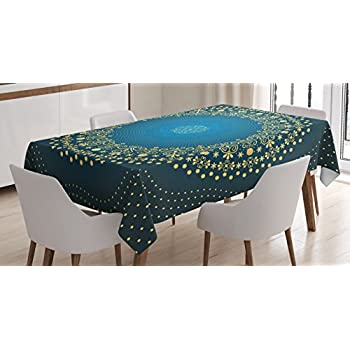 Mandala Decor Tablecloth by Ambesonne, Digital Moroccan Geometric Sign of Universe Folkloric Asian Heritage Design, Dining Room Kitchen Rectangular Table Cover, 60W X 90L Inches, Blue Yellow