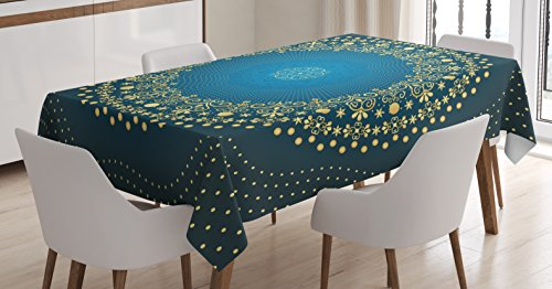 Ambesonne Mandala Decor Tablecloth, Digital Moroccan Geometric Sign of Universe Folkloric Asian Heritage Design, Dining Room Kitchen Rectangular Table Cover, 60W X 84L inches, Blue Yellow