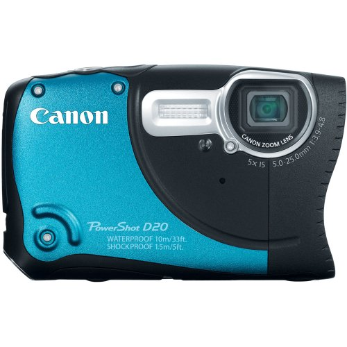 Canon PowerShot D20 12.1 MP CMOS Waterproof Digital Camera with 5x Image Stabilized Zoom 28mm Wide-Angle Lens a 3.0-Inch LCD and GPS Tracking (Blue) (OLD MODEL) ()