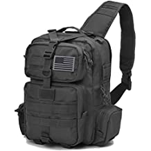 Tactical Sling Bag Pack Military Rover Shoulder Sling Backpack Molle Assault Range Bag Everyday Carry Bag Day Pack with Tactical USA Flag Patch