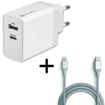 Cargador + Cable USB Tipo C de Carga rápida para iPhone X, XR, XS ...