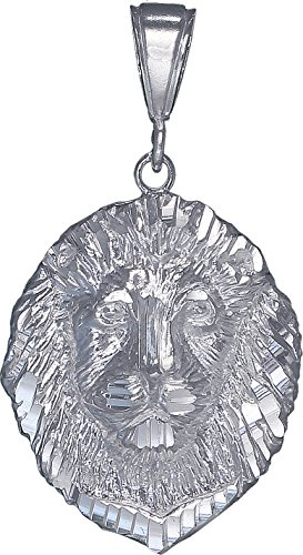 (eJewelryPlus Sterling Silver Lion Charm Pendant Necklace Diamond Cut Finish with Chain (Without Chain))