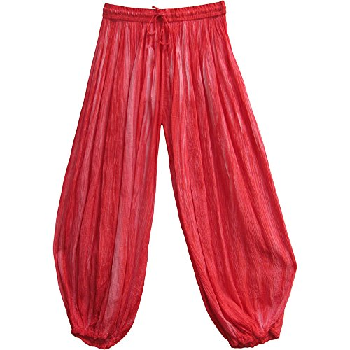 Gauze Indian Cotton Crinkled Bohemian Tie-Dye Harem Gypsy Pants (Coral)