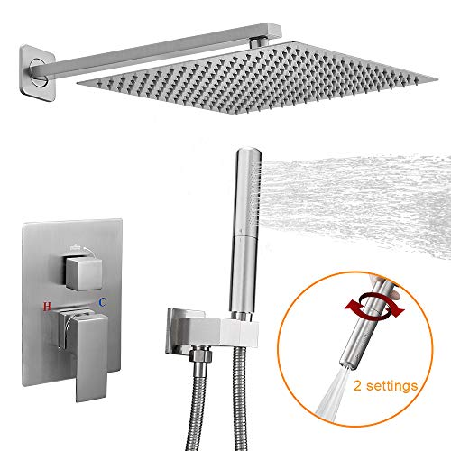 (BESy Shower System with 12 Inch Rain Shower Head and Handheld Wall Mounted, High Pressure Rainfall Shower Faucet Combo Set with 2 in 1 Handheld Showerhead for Bathroom, Brushed Nickel)