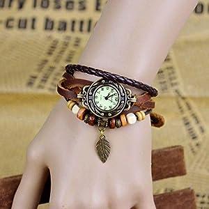 Reloj elegante de Mixe, estilo Boho Chic, inspiración vintage, con correa de cuero, cuentas de madera y colgante con forma de hoja de bronce