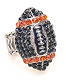 rosskosports.com Auburn Tigers Fan Jewelry NCAA Women's Girl's Blue and Orange Rhinestone Football Stretch Fit Bling Ring Fashion