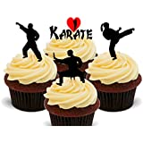 I Love Karate Edible Cupcake Toppers - Stand-up Wafer Cake Decorations by Made4You