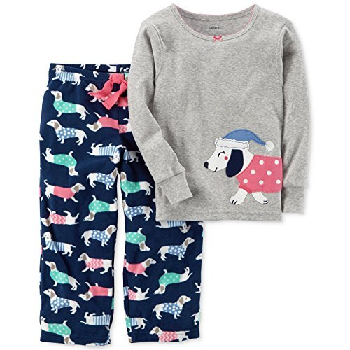 Carter's Baby Girls' 12M-14 2 Piece Dog Fleece Pajamas 4