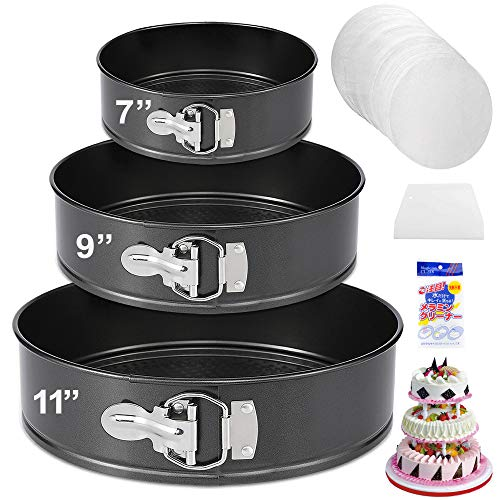 Springform Pan Set of 3 Nonstick Cheesecake Pan, Leakproof Cake Pan Set Includes 3 Pieces 7″ 9″ 11″ Springform Pan with Removable Bottom and 60pcs Parchment Paper Liners by Molgree