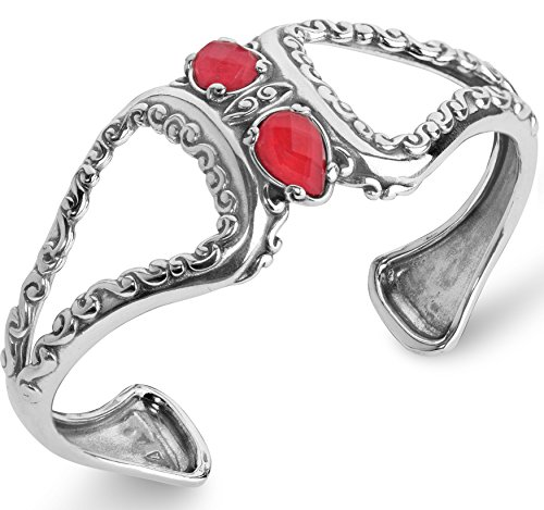 Carolyn Pollack Sterling Silver Red Coral & Crystal Doublet Cuff Bracelet - Medium ()