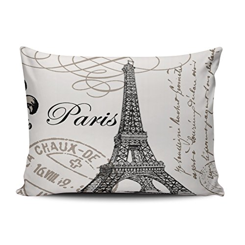 Hoooottle Custom Luxury Funny Black and White Paris Eiffel Tower Stamp Standard Pillowcase Rectangle Zippered One Side Printed 20x26 Inches Throw Pillow Case Cushion Cover
