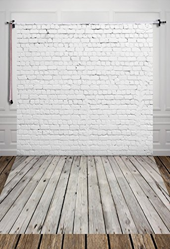 - HUAYI 5X7ft White Brick Wall With Gray Wooden Floor Photography Vinyl Backdrop D-2504