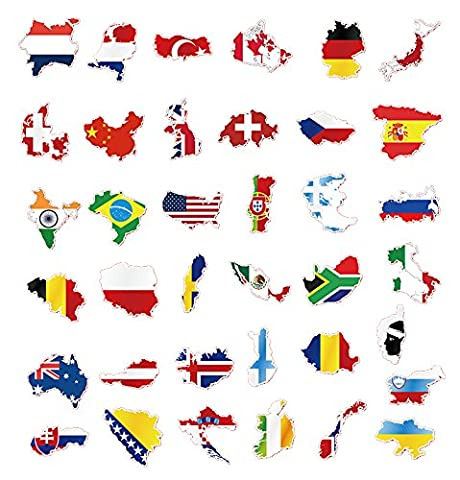 37 pcs Flags & Map Stickers Decals Vinyls for Laptops, Skateboards, Luggage, Cars, Bumpers, Bikes, - Vinyl Quote Design Sticker