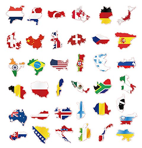 50 pcs Flags & Map Stickers Decals Vinyls for Laptops, Skateboards, Luggage, Cars, Bumpers, Bikes, Bicycle best laptop stickers for college students