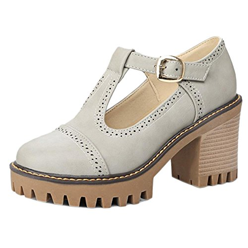 COOLCEPT Women Thick Heel Court Shoes Grey blUvi