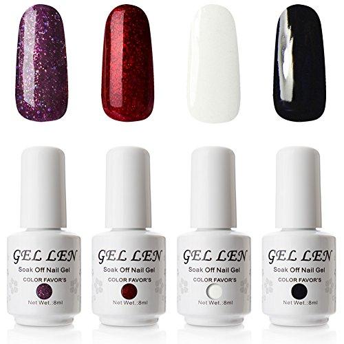 - Gellen Gel Nail Polish 4 Colors Set - Classic Black Pure White Sparkle Purple Flame Red, Gel Manicure Set