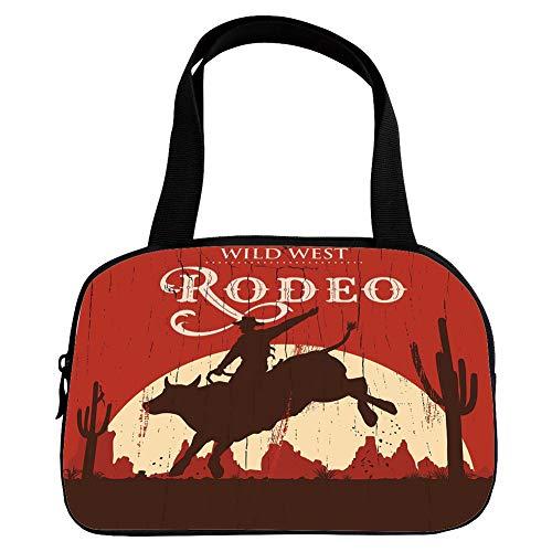 Xoxo Hobo Handbag - iPrint Strong Durability Small Handbag Pink,Vintage,Rodeo Cowboy Riding Bull Wooden Old Sign Western Wilderness at Sunset Image,Redwood Orange,for Students,3D Print Design.6.3