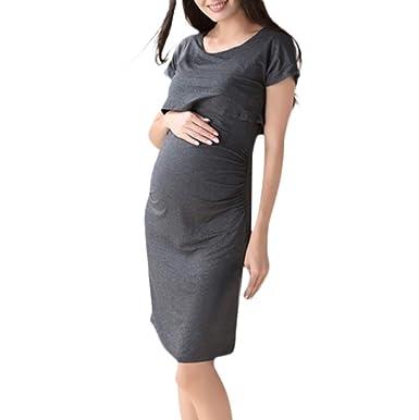 2a5bb2336524e EDTO Women Pregnant Skirts, Maternity Nursing Solid Breastfeeding Sexy  Summer Dress Gray
