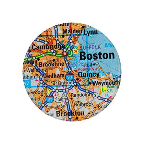 Boston MA City Map Pocket Mirror Refrigerator Magnet or Pinback Button]()