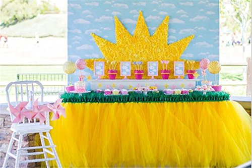 Lanue Handmade Tutu Table Skirt Table Cloth Wedding Birthday Baby Shower Princess Party Decoration (Yellow)