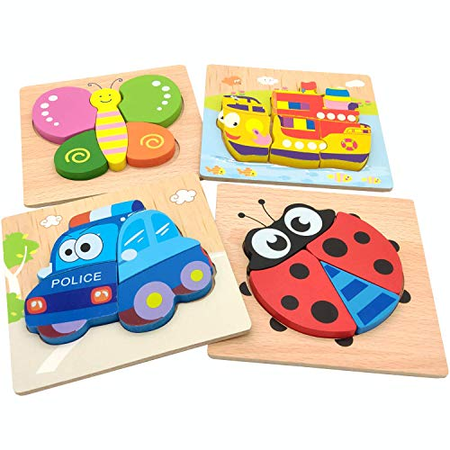 YUXIAN Wooden Jigsaw Puzzles for Toddlers Vehicles Chunky Puzzles Educational Toys for Kids Boys Girls, Educational Toys Gift with 4 Patterns(Vehicles, Insect, Ship) ()