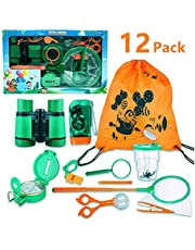 SPECOOL Outdoor Explorer Kit 12Pcs Pretend Play Toys for Boys and Girls Adventurer Binocular Exploration Fun Toy Kit for Camping and Hiking (Yellow)