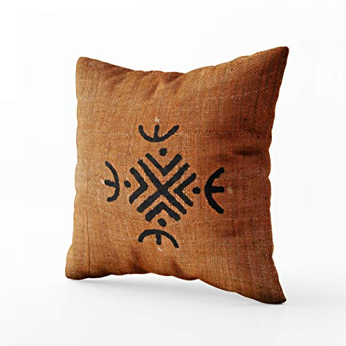 African Pillowcase - Musesh African American Brown Black mud Cloth Pattern Cushions Case Throw Pillow Cover for Sofa Home Decorative Pillowslip Gift Ideas Household Pillowcase Zippered Pillow Covers 18X18Inch