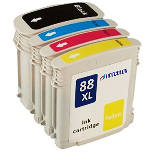 HOTCOLOR (TM) Replacements for HP 88XL Set of 4 High (Inkjet Cartridge Shelf Life)