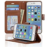 iPhone 6 / 6s Case, NAVOR® [Stand Feature] [Removable Strap] [4 Card Slots] [Clear ID Window] [Money Pocket] Synthetic Leather 4.7 inch iPhone 6 / 6s Wallet Case - Navor (Brown)