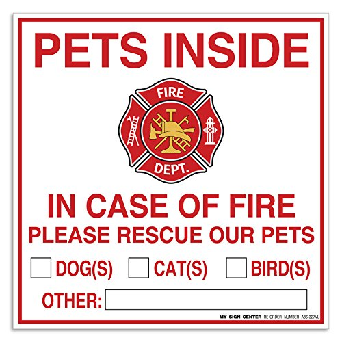 (4 Pack) Pets Inside - in Case of Fire Please Rescue Our Pets Decal Sign - 6